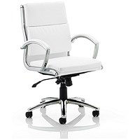 Classic Medium Back Executive Chair, Leather, White, Built