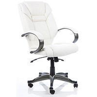 Galloway Leather Executive Chair, White, Built