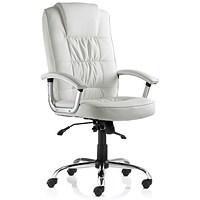 Moore Leather Deluxe Executive Chair, White, Built