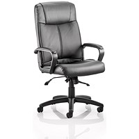 Plaza Leather Executive Chair, Black, Built