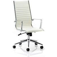 Ritz Leather High Back Executive Chair, Ivory, Built