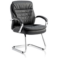 Rocky High Back Leather Cantilever Chair, Black
