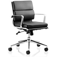 Savoy Leather Executive Medium Back Chair, Black, Built