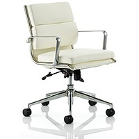 Savoy Leather Executive Medium Back Chair, Ivory, Built