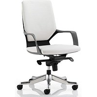 Xenon Leather Medium Back Executive Chair, White, Built