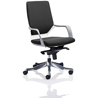 Xenon Medium Back Executive Chair, White Frame, Black Fabric