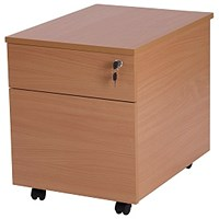 Retro 2 Drawer Mobile Pedestal, 580mm Deep, Beech