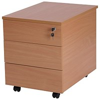 Retro 3 Drawer Mobile Pedestal, 580mm Deep, Beech