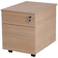 Retro 2 Drawer Mobile Pedestal, Oak