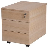 Retro 3 Drawer Mobile Pedestal, Oak