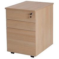 Retro 3 Drawer Tall Mobile Pedestal, Oak