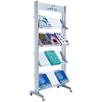 Fast Paper Mobile Literature Display, Single-Sided, 12 Compartments, Silver