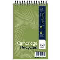Cambridge Recycled Wirebound Notebook, 200x125mm, Ruled, 160 Pages, Pack of 10