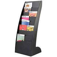 Fast Paper Floorstanding Literature Display, Curved, 8 x A4 Slots, Black