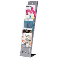 Fast Paper Literature Display, Portable with Carryall, 7 Pockets, Silver