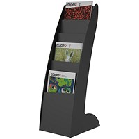 Fast Paper Floorstanding Literature Display, Curved, 6 x A4 Slots, Black