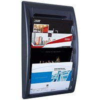 Fast Paper Wall-Mounted Literature Holder, 4 x A4+ Pockets, Black