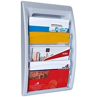 Fast Paper Wall-Mounted Literature Holder, 4 x A4+ Pockets, Silver