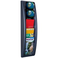 Fast Paper Quick Fit Wall Literature Holder, 5 x 1/3 A4 Pockets, Black