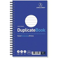 Challenge Wirebound Carbonless Ruled Duplicate Book / 50 Sets / 210x130mm / Pack of 5