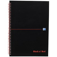 Black n' Red Soft Cover Wirebound Notebook / A4 / Perforated & Ruled / 100 Pages / Pack of 10