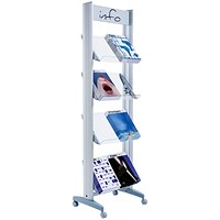 Fast Paper Mobile Literature Display, Single-Sided, 8 Compartments, Silver