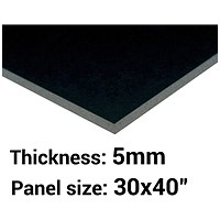 Foamboard, 30'' x 40'', Black, 5mm Thick, Box of 25