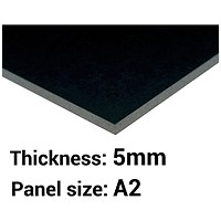 Foamboard, A2, Black, 5mm Thick, Box of 20
