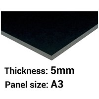 Foamboard / A3 / Black / 5mm Thick / Box of 10