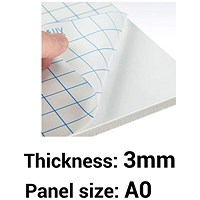 Self- adhesive Foamboard, A0, White, 3mm Thick, Box of 15