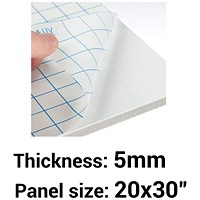"Self- adhesive Foamboard, 20"" x 30"", White, 5mm Thick, Box of 25"