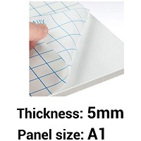 Self-adhesive Foamboard, A1, White, 5mm Thick, Box of 10