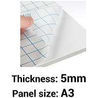 Self-adhesive Foamboard, A3, White, 5mm Thick, Box of 10