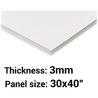 Foamboard, 30'' x 40'', White, 3mm Thick, Box of 15