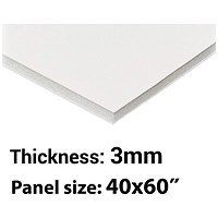 Foamboard, 40'' x 60'', White, 3mm Thick, Box of 25
