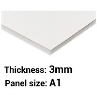 Foamboard, A1, White, 3mm Thick, Box of 15