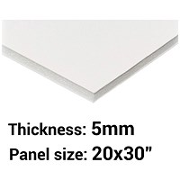 "Foamboard, 20"" x 30"", White, 5mm Thick, Box of 25"
