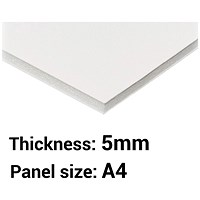 Foamboard, A4, White, 5mm Thick, Box of 20