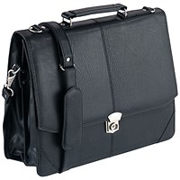 Falcon Synthetic Leather Flapover Briefcase Black 2584