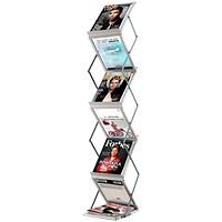 Fast Paper Folding Floor Stand, 6 x A4 Shelves, Silver
