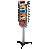 Fast Paper Mobile Display Unit, Three-Sided, 24 compartments, Silver