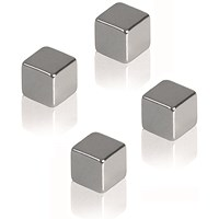 Franken Square Magnets, 10mm, Silver, Pack of 4