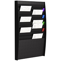 Fast Paper Wall-Mounted Document Panel, 2 x 10 A4 Pockets, Black