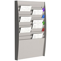 Fast Paper Wall-Mounted Document Panel, 2 x 10 A4 Pockets, Grey