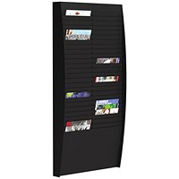 Fast Paper Wall-Mounted Document Panel, 2 x 25 A4 Pockets, Black
