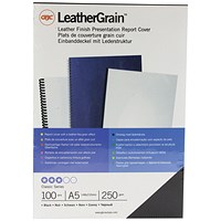 Acco GBC Binding Covers, 250gsm, Black, Leathergrain, A5, Pack of 100