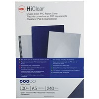 GBC PVC Binding Covers, 240 micron, Clear, A5, Pack of 100
