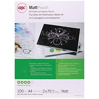 GBC A4 Laminating Pouches, Thin, 150 Micron, Matt Finish, Pack of 100