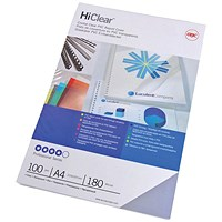 GBC HiClear A4 Binding Cover 150 Mic Super Clear - Pack of 50