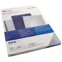 GBC HiClear A4 Binding Cover 250 Micron Clear - Pack of 50